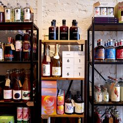 Bottles line the shelves at Spirited Away, an alcohol-free bottle shop, in the Lower East Side of Manhattan in New York on Saturday, March 13, 2021. The shop is devoted to everything needed to make alcohol-free cocktails.