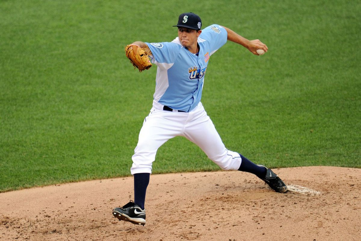 July 8, 2012; Kansas City, MO, USA; USA pitcher Danny Hultzen delivers a pitch during the third inning of the 2012 All Star Futures Game at Kauffman Stadium.  Mandatory Credit: Peter G. Aiken-US PRESSWIRE
