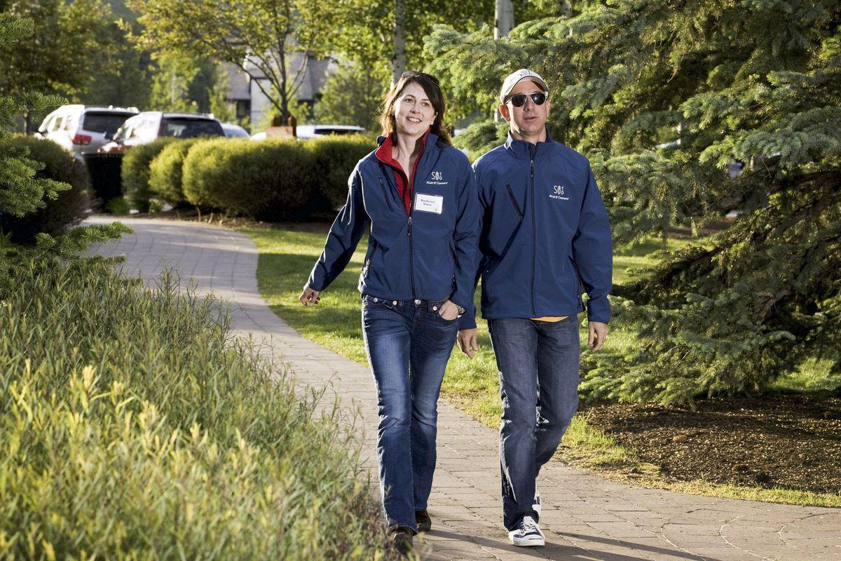 Jeff Bezos and MacKenzie Scott walking in 2010.
