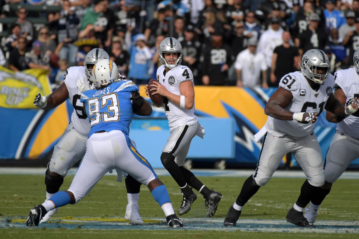 Oakland Raiders quarterback Derek Carr throws the ball in the first quarter against the Los Angeles Chargers at Dignity Health Sports Park.