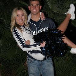 Toronto Blue Jays pitcher Taylor Cole with his wife, Madilyn Cole. This photo shows the couple when they were students at Brigham Young University. Madilyn Cole was a BYU cheerleader.