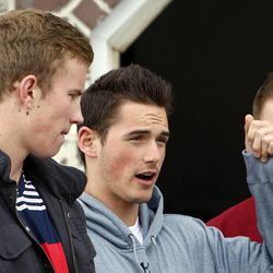 From left to right: Ryan Jensen, Nick Allen and Jake Allen, friends of an Alta High School student who was accused of a racist stunt at school, tell their point of view in Draper on Tuesday, March 29, 2011.