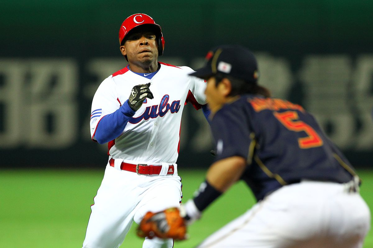 Alexei Bell plays for the Cuban National Team in the 2013 World Baseball Classic.