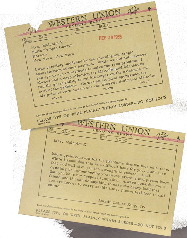 This is the telegram MLK sent Malcolm X's wife after her husband's
