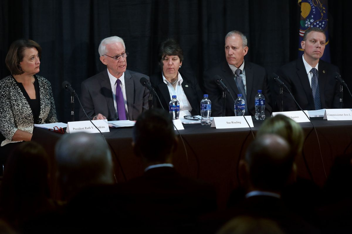 University of Utah President Ruth Watkins, left, John T. Nielsen, former Commissioner of Public Safety for the State of Utah, Sue Riseling, executive director, International Association of Campus Law Enforcement Administrators, Keith Squires, Senior Vice