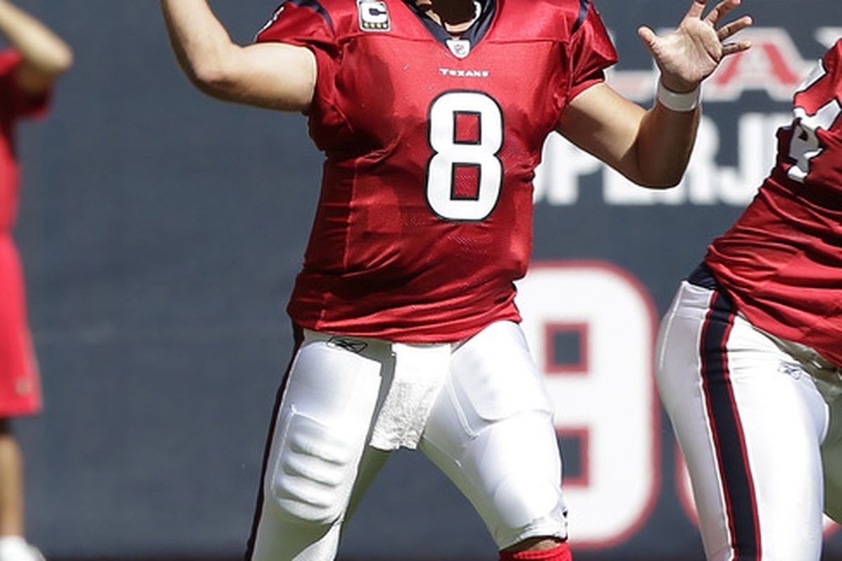 HOUSTON - OCTOBER 30:  Quarterback Matt Schaub #8 of the Houston Texans  throws in the first quarter against the Jacksonville Jaguars at Reliant Stadium on October 30, 2011 in Houston, Texas.  (Photo by Bob Levey/Getty Images)
