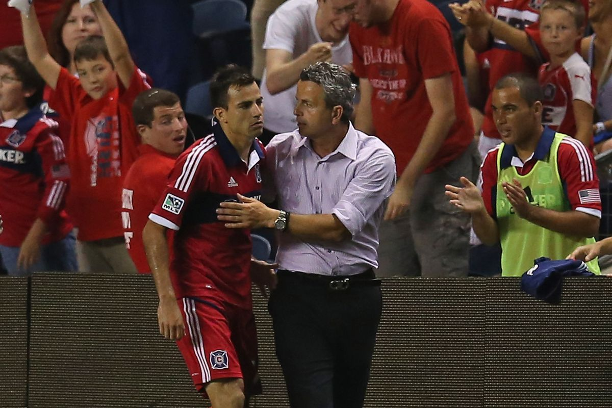 Frank Klopas (as well as every Fire fan) loved Marco's redeeming goal last weekend vs. Toronto.  (Photo by Jonathan Daniel/Getty Images)
