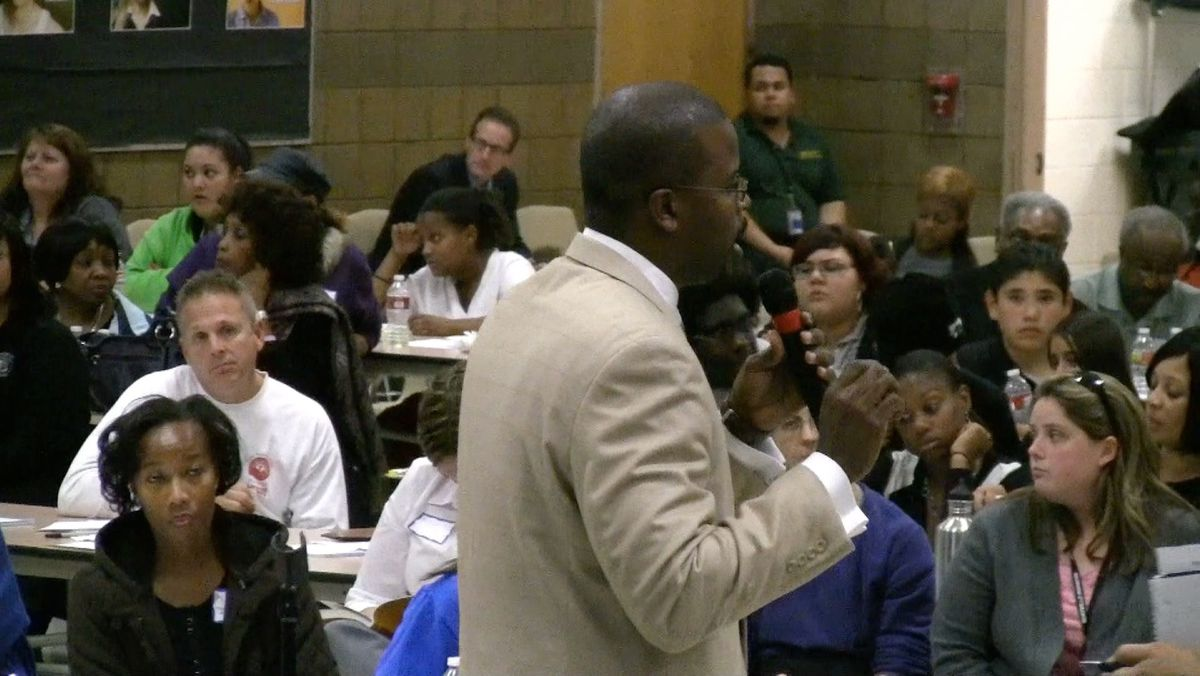 DPS administrator Antwan Wilson, who oversees high schools, sought to answer questions about Montbello's role in the reform proposal.