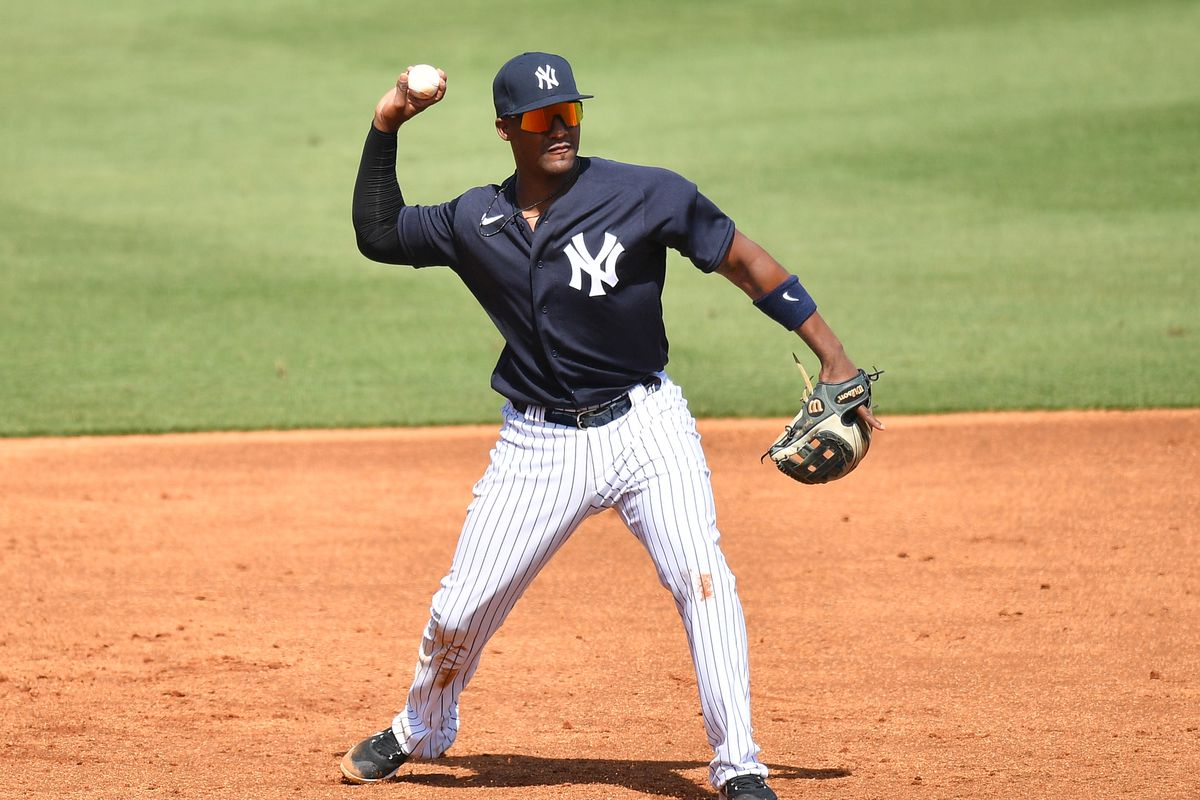 Miguel Andujar #41 of the New York Yankees in action against the Detroit Tigers in a spring training game at George M. Steinbrenner Field on March 05, 2021 in Tampa, Florida.