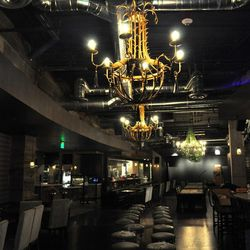 The chandeliers at Culinary Dropout.