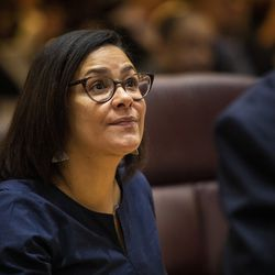 Ald. Rossana Rodriguez Sanchez (33rd) chats with another alderman before the start of her first Chicago City Council meeting at City Hall, Wednesday, May 29, 2019.