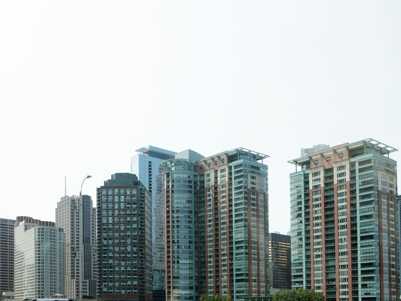 A view of the tops of high-rises in downtown Chicago.