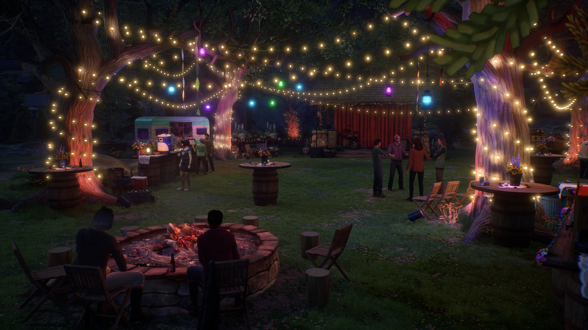 a festival with string lights and people all around