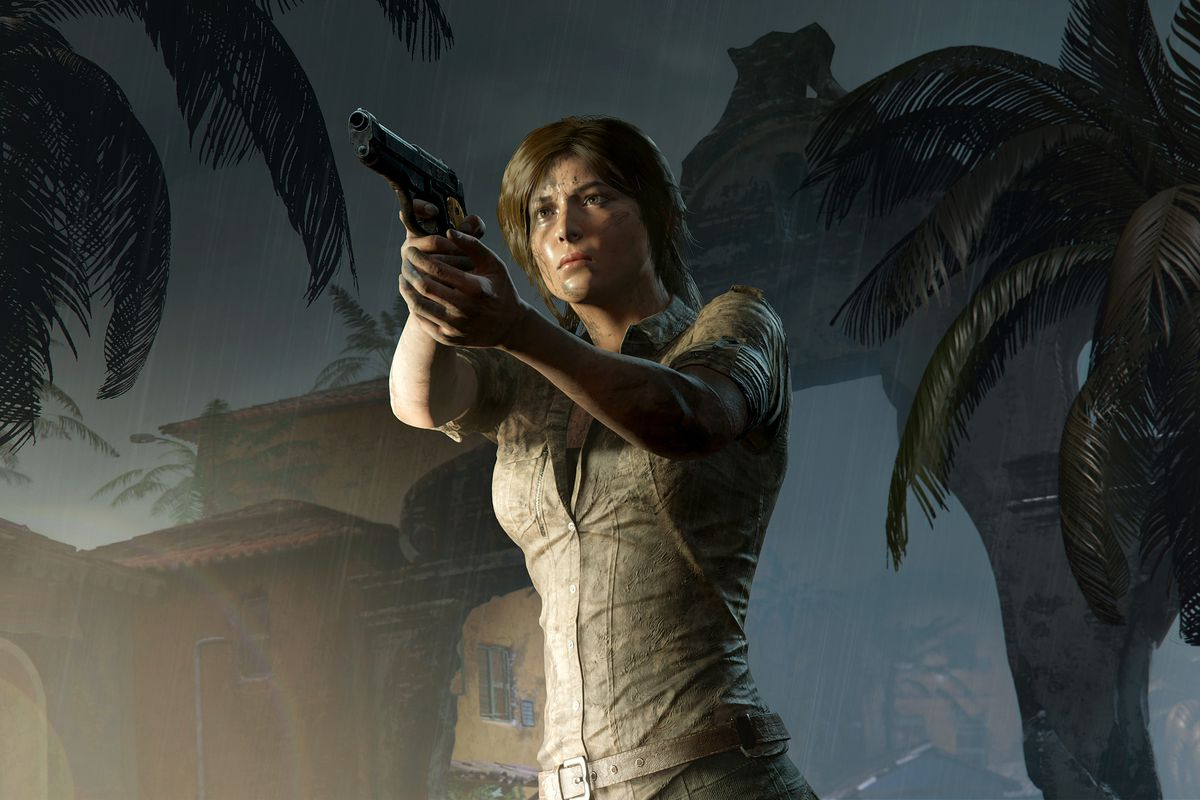 Shadow of the Tomb Raider - Lara aiming a gun