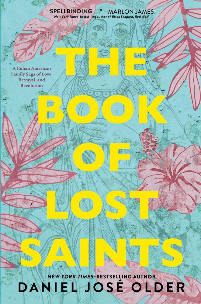 the book of lost saints cover with pastel pink flowers against a light blue background