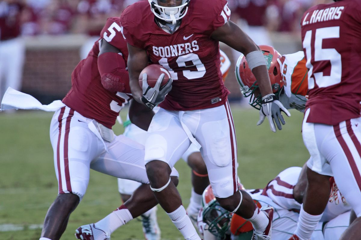 Is this the game where Justin Brown rises to become a solid #2 receiver for Oklahoma? (Photo by Brett Deering/Getty Images)