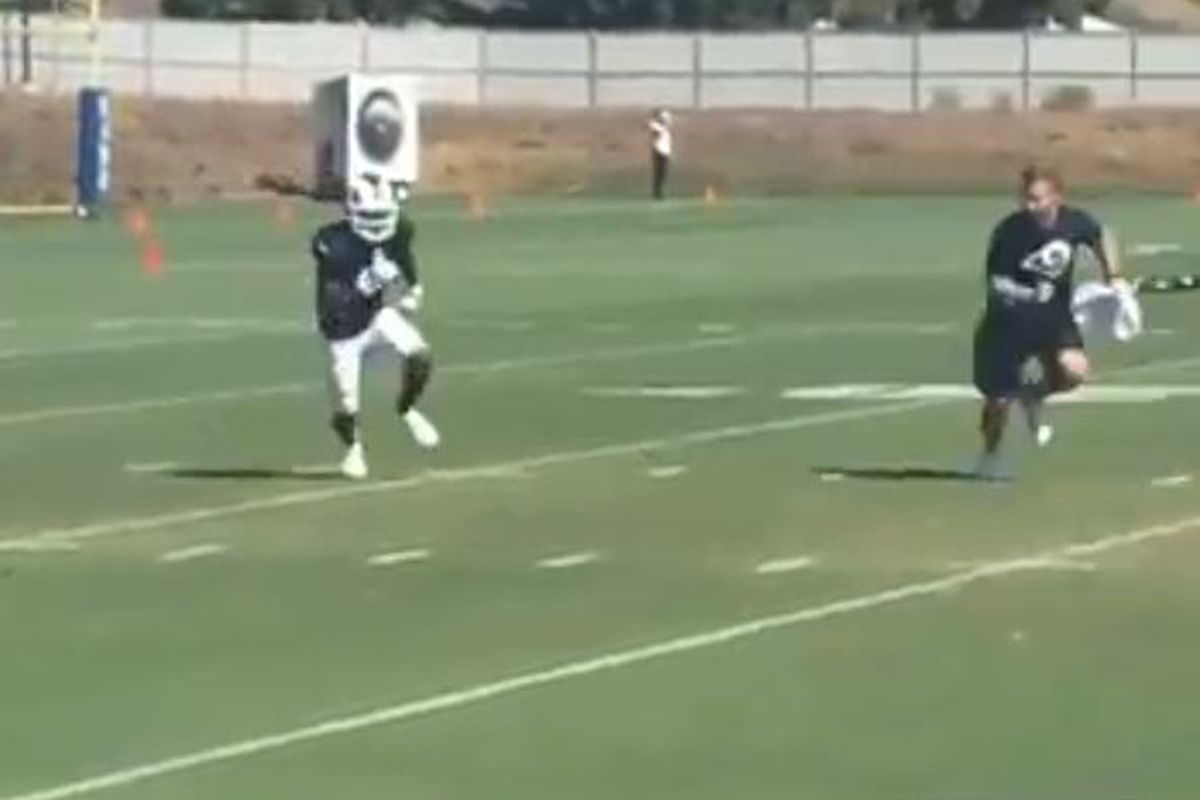 WR Brandin Cooks works against HC Sean McVay during practice, October 11, 2018.