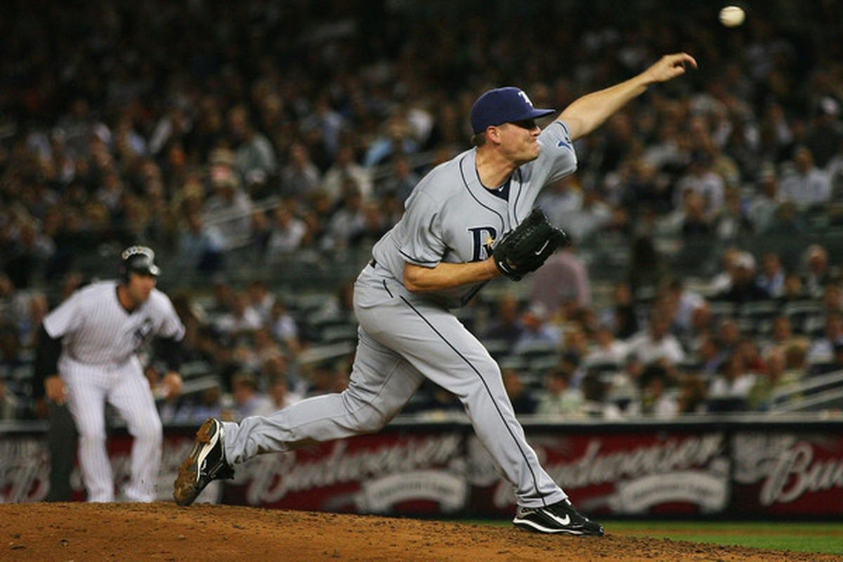 Jake McGee of the Tampa Bay Rays (Photo by Andrew Burton/Getty Images)
