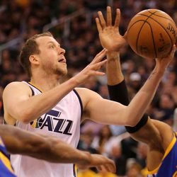 Utah Jazz forward Joe Ingles (2) shoots during game 4 of the second round of NBA playoffs against the Golden State Warriors at the Vivint Smart Home Arena in Salt Lake City on Monday, May 8, 2017. The Jazz lost 95-121.