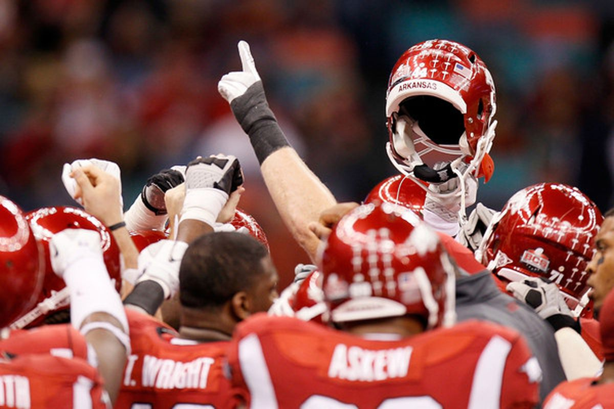 NEW ORLEANS LA - JANUARY 04:  the Arkansas Razorbacks huddle before taking on the Ohio State Buckeyes in the Allstate Sugar Bowl at the Louisiana Superdome on January 4 2011 in New Orleans Louisiana.  (Photo by Kevin C. Cox/Getty Images)