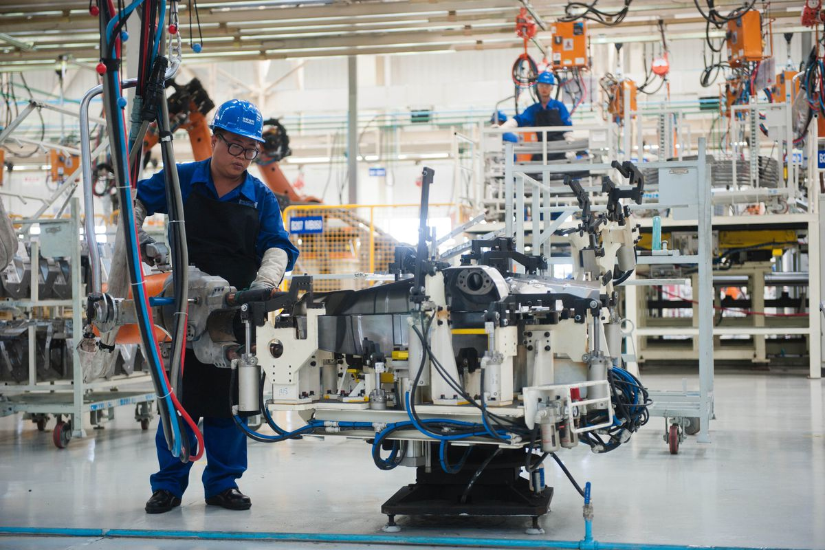 A Chinese autoworker at a plant in Beijing