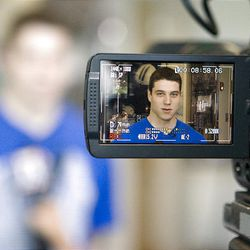BYU guard Jimmer Fredette discusses his decision to declare for the NBA draft during a news conference at BYU Tuesday.