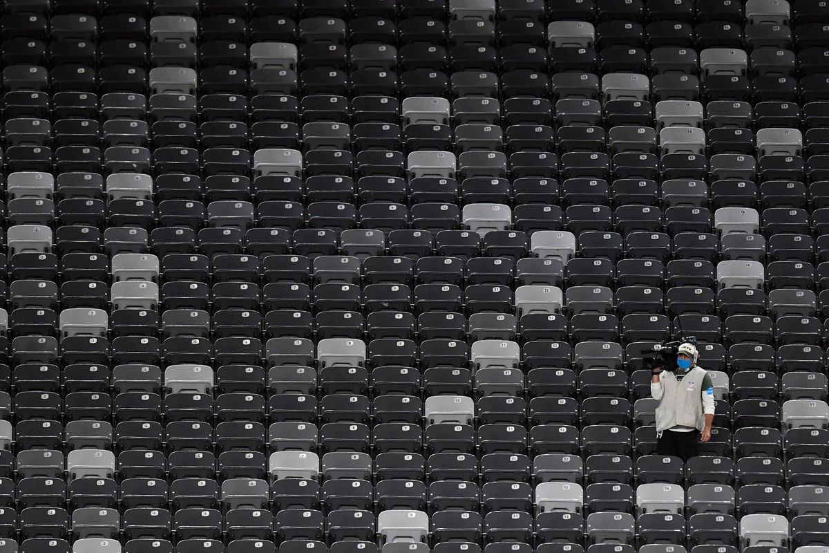 Camera man in the empty stands. The Jets lose to the Broncos, 37-28, at MetLife Stadium on Thursday, Oct. 1, 2020, in East Rutherford. Nfl Jets Broncos