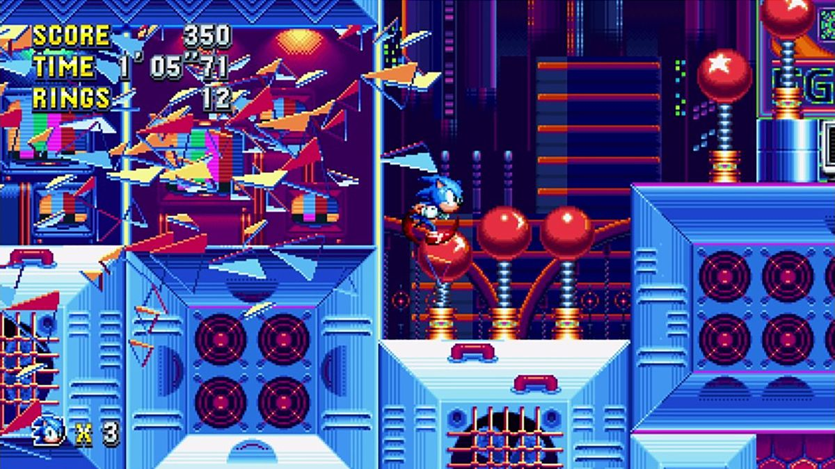 Sonic Mania - Sonic bursting through colored glass