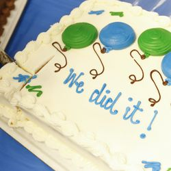 A cake is pictured at a Medicaid expansion celebration and enrollment event at the Utah Health Policy Project office in West Valley City on Wednesday, Jan. 15, 2020.