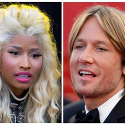 """This photo combination shows musicians Nicki Minaj, left, and Keith Urban. The """"American Idol"""" judges' panel is now complete with the naming of singer-rapper Minaj and country crooner Urban. The Fox network officially tapped the pair with an announcement Sunday, Sept. 16, 2012, just hours before the first round of judging for next season was due to begin in New York. (AP Photo)"""