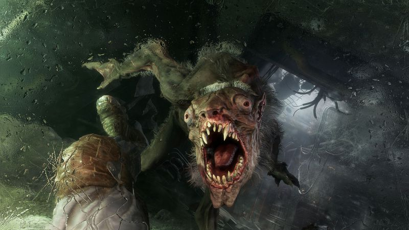 In this screenshot from Metro Exodus, a giant mutated rat creature is leaping onto the main character. You can see the character's legs flying out from under him from the first-person perspective.