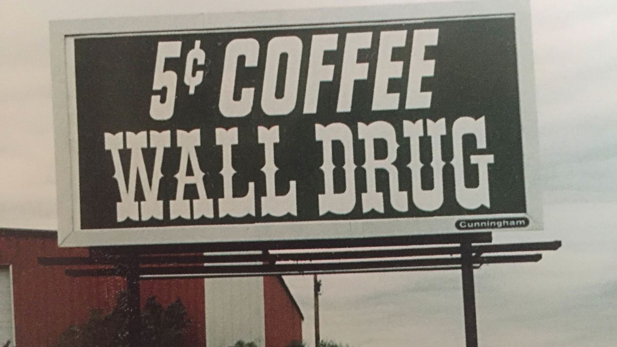 A Wall Drug billboard advertising 5-cent coffee, as seen from the interstate.