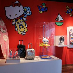 Hello Kitty is pretty adventurous, too. She's got her own surfboard, suitcases, skates, and skateboard.