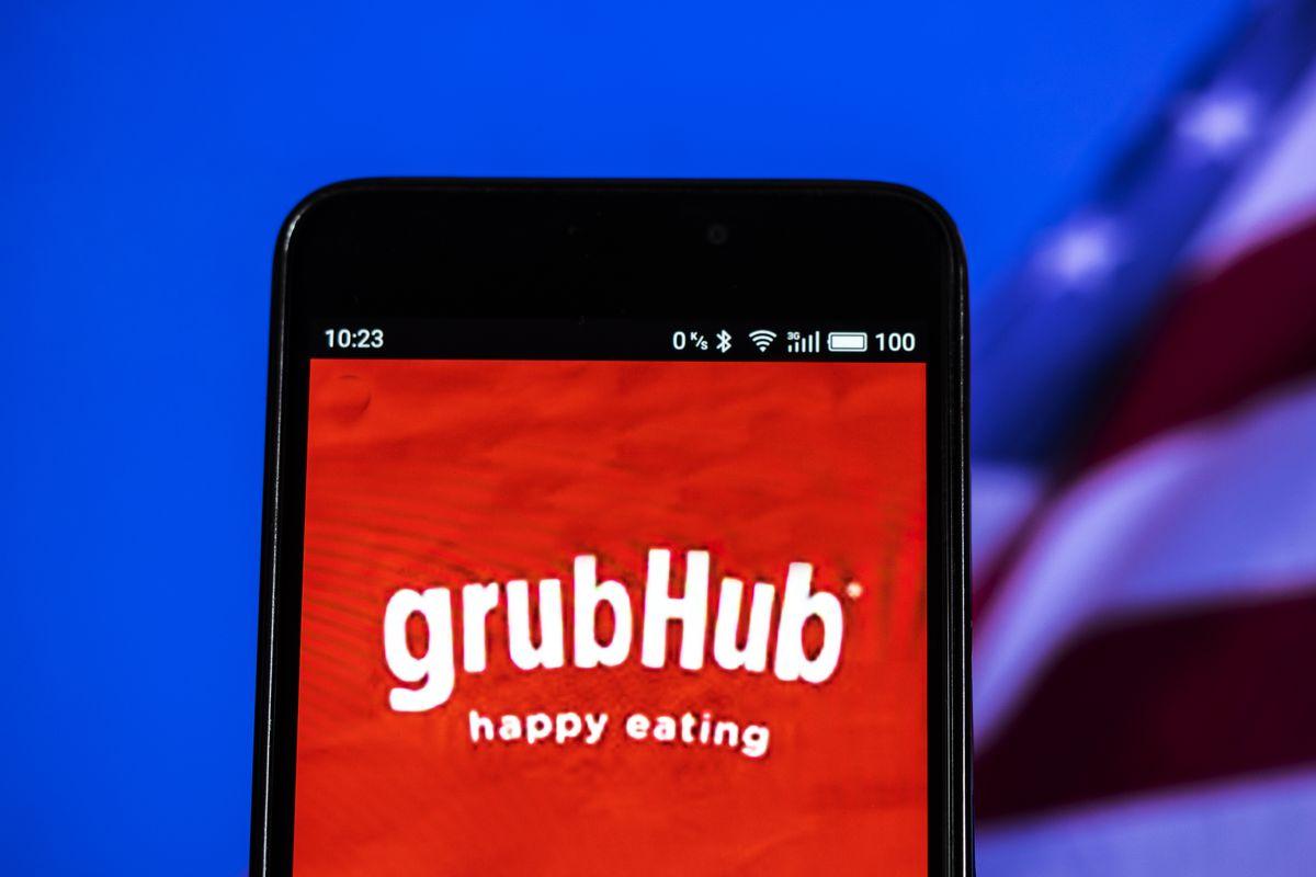 GrubHub logo seen displayed on a smart phone. Grubhub Inc.