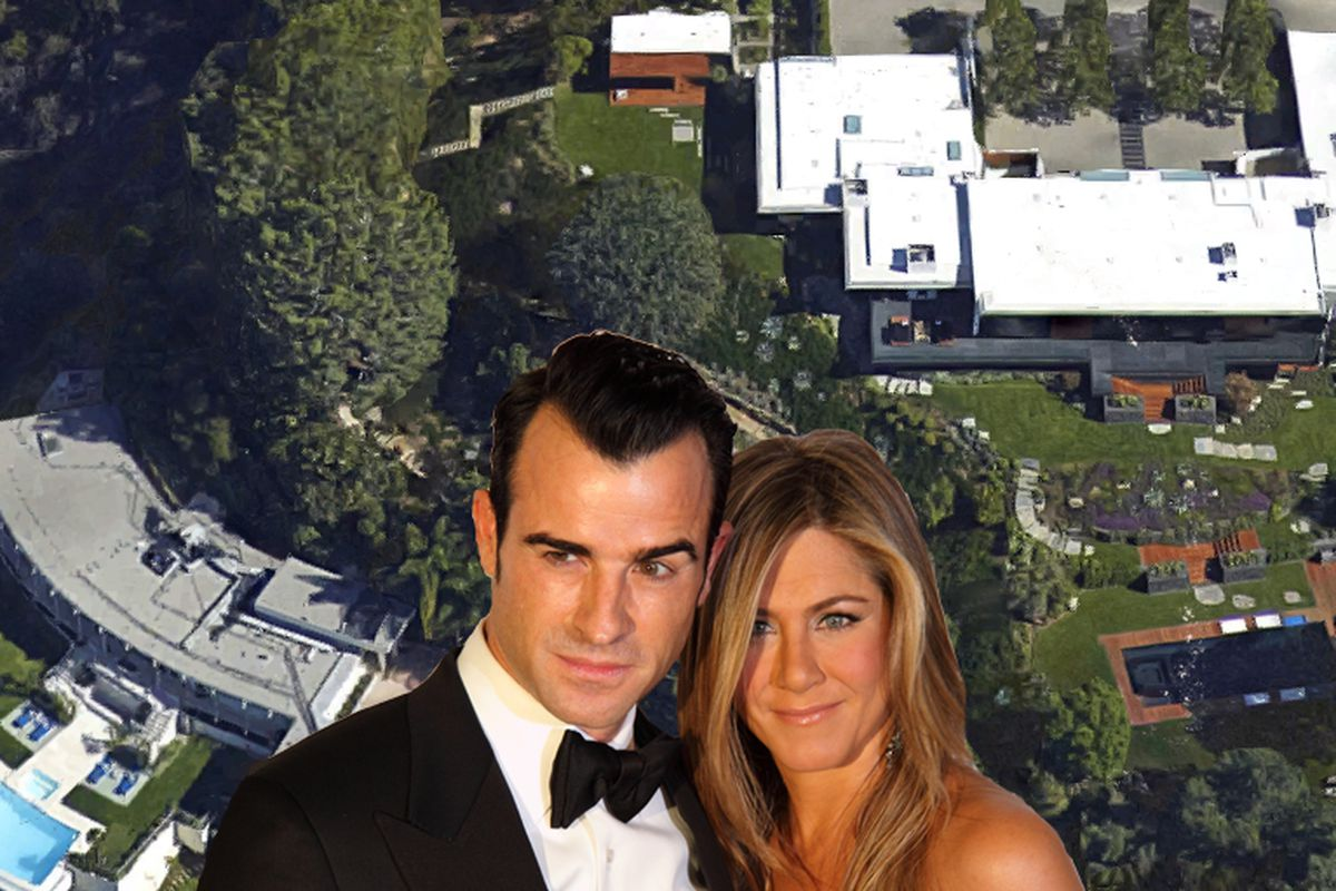 """Aniston's home is on the right; the conveniently vacant mansion is on the left. Aerial view via Google Maps. The happy couple via <a href=""""http://www.shutterstock.com/gallery-885403p1.html"""">Serge Rocco</a>/Shutterstock."""