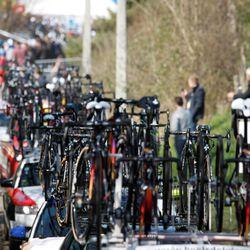 Cars, cars, cars. The race caravan is awe-inspiring on the narrow roads of Flanders