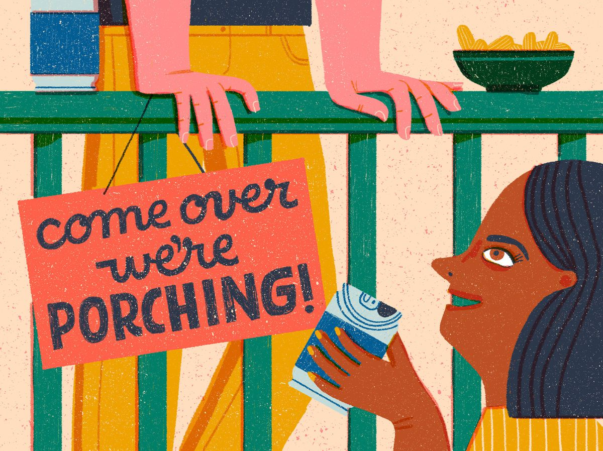 "A smiling neighbor with a canned beverage in her hand looks up at a man leaning over the banister of his porch. There's a bowl of chips sitting on the rail and a sign that reads, ""come over we're porching!"" hangs over the side of the railing. Illustration."