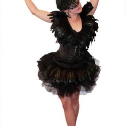 Black swan: Black corset, $139. Black tutu, $48.99. Feather belt, $95. Feather vest, $125. Feather headpiece, $19. Black rhinestone metal mask, $125.