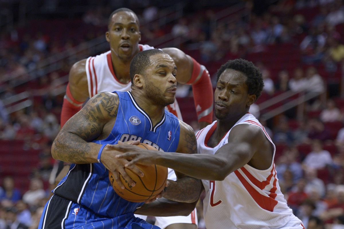 Dwight Howard, Jameer Nelson, and Patrick Beverley