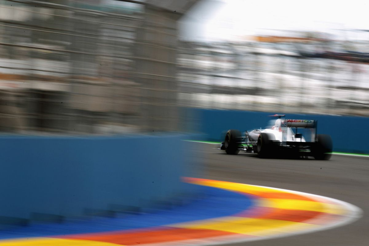 VALENCIA, SPAIN - JUNE 24:  Kamui Kobayashi of Japan and Sauber F1 drives during practice for the European Formula One Grand Prix at the Valencia Street Circuit on July 24, 2011, in Valencia, Spain.  (Photo by Paul Gilham/Getty Images)