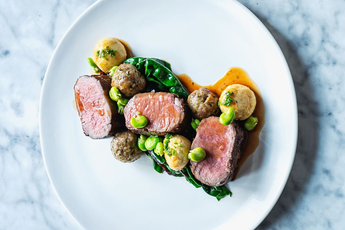 Lamb loin with fava bean, ricotta gnudi, and Swiss chard from Lyle's