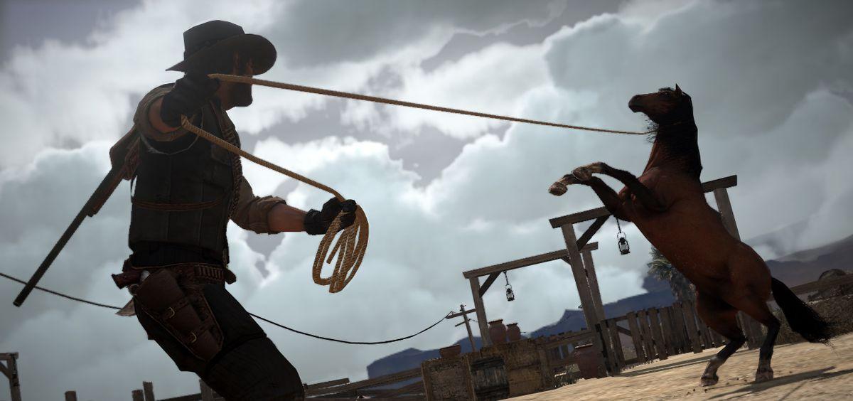 Red Dead Redemption - John Marston breaking a wild horse