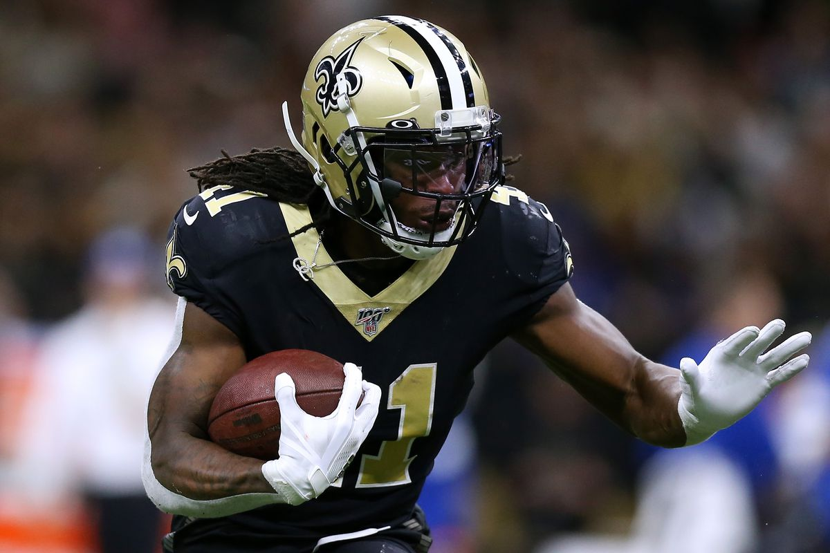 Alvin Kamara #41 of the New Orleans Saints runs with the ball against the Indianapolis Colts during a game at the Mercedes Benz Superdome on December 16, 2019 in New Orleans, Louisiana.
