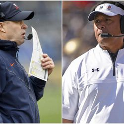 Virginia coach Bronco Mendenhall, left, and Navy coach Ken Niumatalolo will face each other when the Cavaliers and Midshipmen play in the Military Bowl on Thursday.