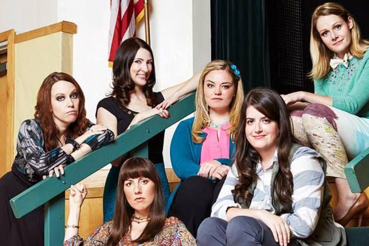 The Teachers/Katydids (Kathryn Renée Thomas, Katy Colloton, Caitlin Barlow, Kate Lambert, Cate Freedman, and Katie O'Brien).