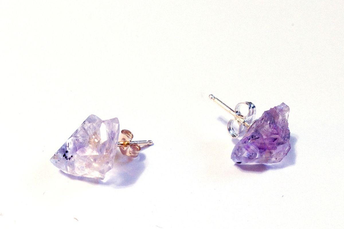 "Chaparral Studio raw amethyst point stud earring, <a href=""http://chaparralstudio.bigcartel.com/product/amethyst-crystal-point-stud-earrings"">$48 to $50</a> per pair"