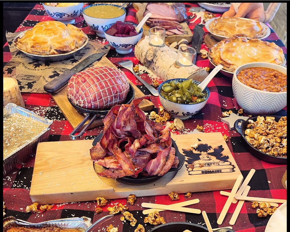 sugar shack spread with bacon, pie