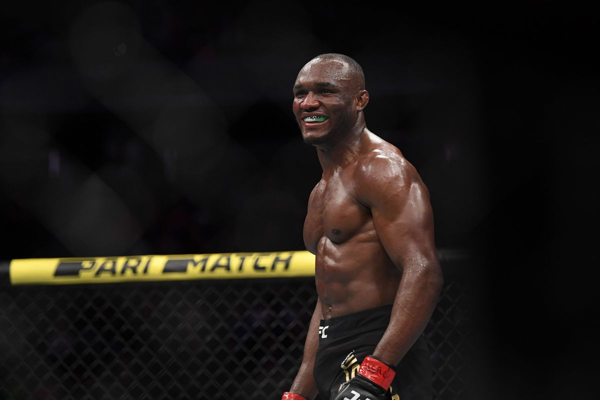 Kamaru Usman reacts after defeating Colby Covington during UFC 245 at T-Mobile Arena.
