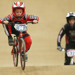 Connor Clifford, 6, practices prior to racing BMX in South Jordan on Dec. 6, 2015.