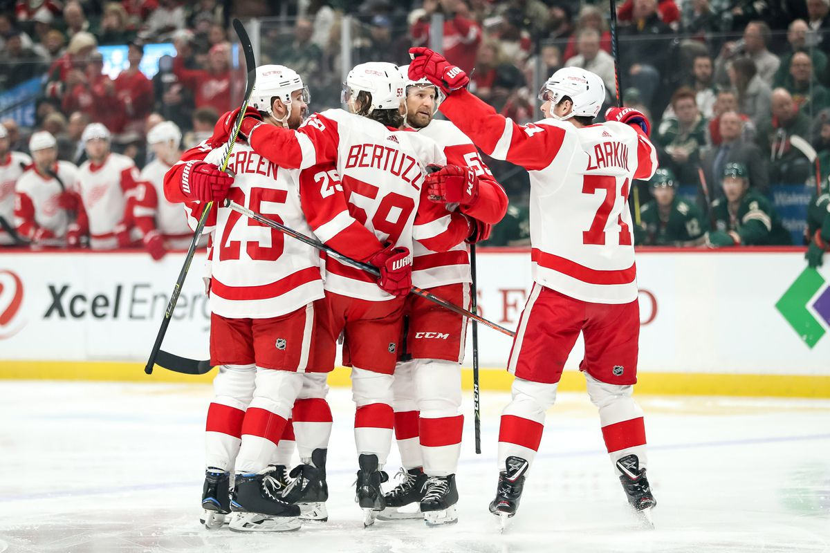 on sale c6368 cfe78 Tyler Bertuzzi s hat trick powers Red Wings past Wild 5-2